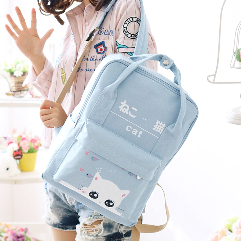 Lovely Cute Cat Printing Backpack Women Canvas Backpack School Bags For Teenagers Ladies Casual Cute Rucksack Travel 2018 big bow women canvas backpack school bag for girl dot lace ladies teenagers casual travel bags schoolbag backpack