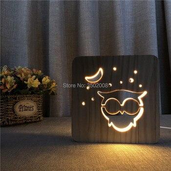 الدافئة الأبيض ضوء اللون البومة 3D ليد البصرية خشبية أضواء ليلية للأطفال USB الجدول لامبارا