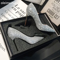 bride High heels Bride shoes woman 7cm/9cm heel Fish toe Pumps pointed rhinestone single crystal wedding shoes fast shipment