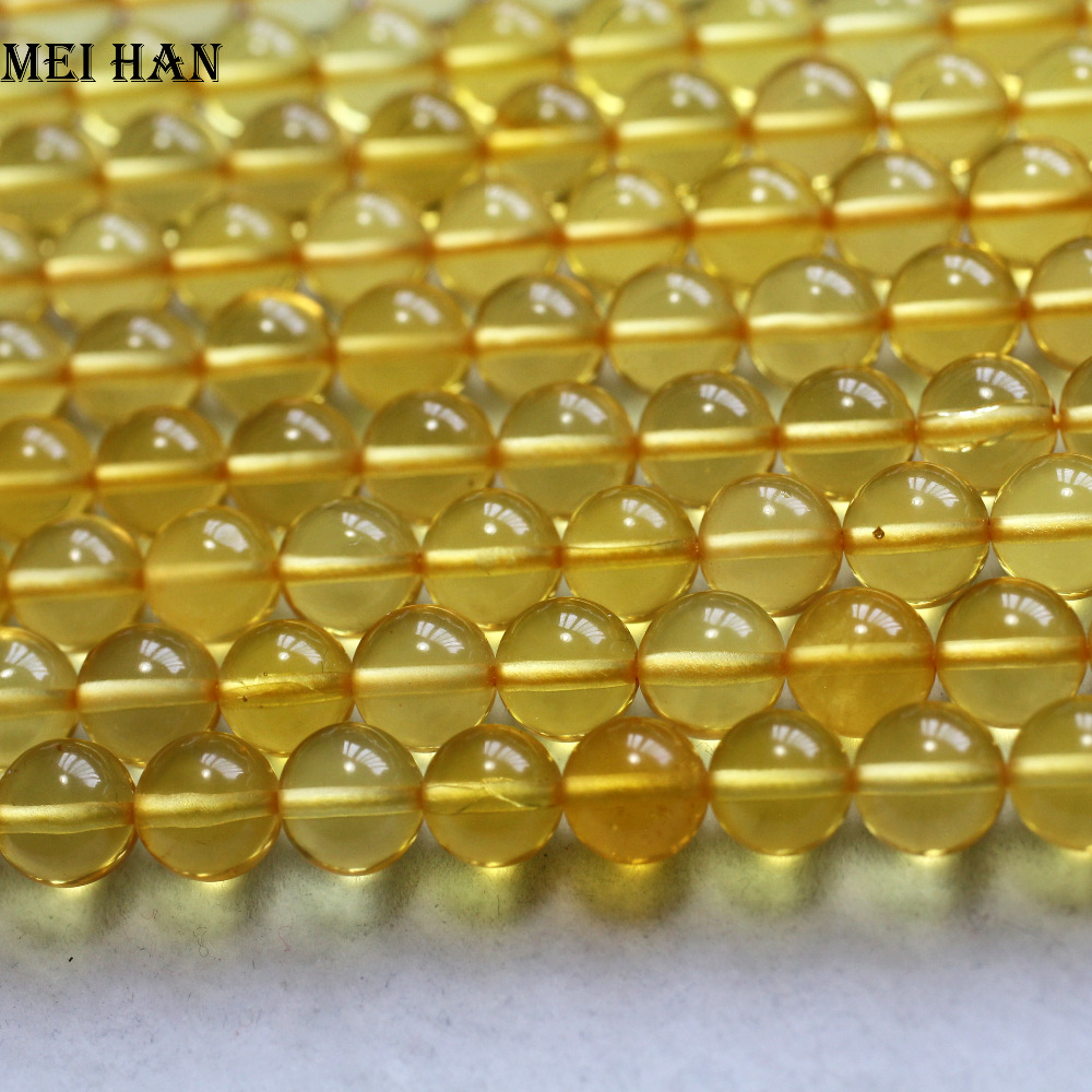 Meihan Free shipping (46beads/strand/11.5g) natural rare Golden Amber 7.5 8mm smooth round loose beads for jewelry making-in Beads from Jewelry & Accessories    1
