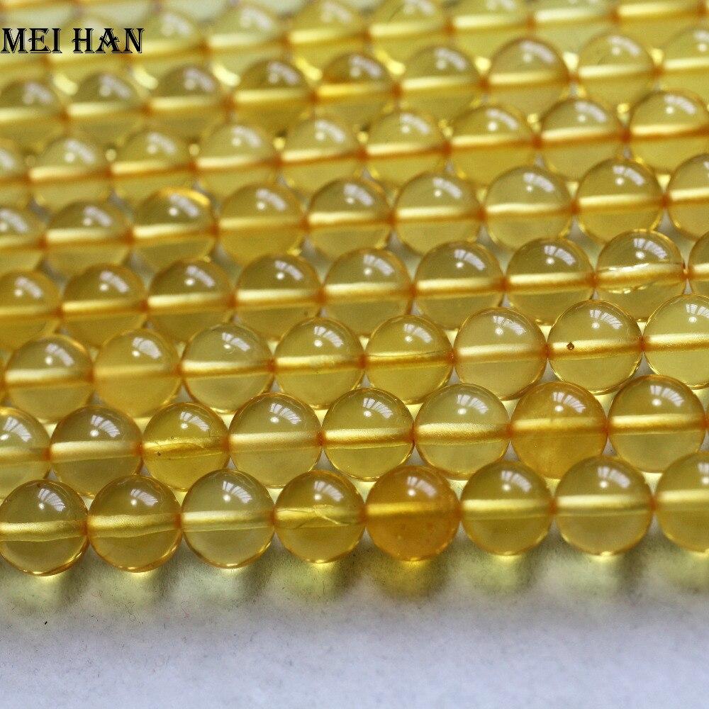 Meihan livraison gratuite (46 perles/brin/11.5g) naturel rare or ambre 7.5 8mm lisse ronde perles en vrac pour la fabrication de bijoux-in Perles from Bijoux et Accessoires    1