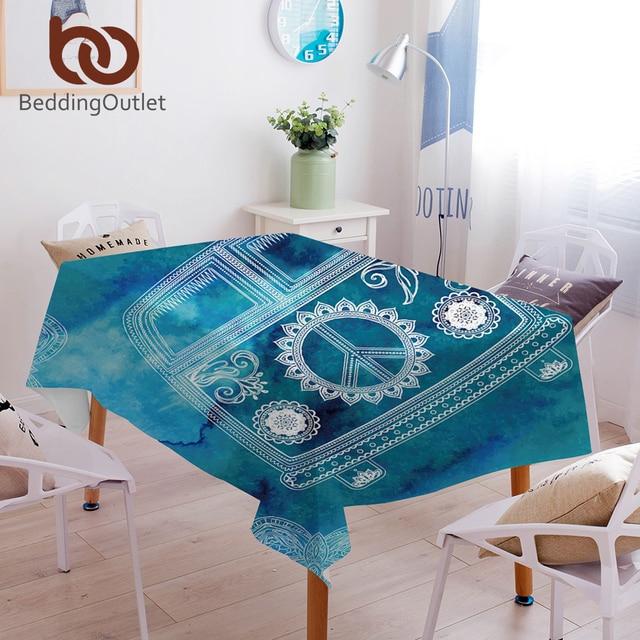 beddingoutlet watercolor bus tablecloth mandala blue waterproof