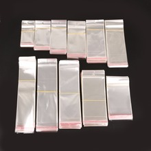 100Pcs/ Lot Clear Self Adhesive Seal Plastic Bag Pouch Party OPP Packing Storage Bags Hang Hole