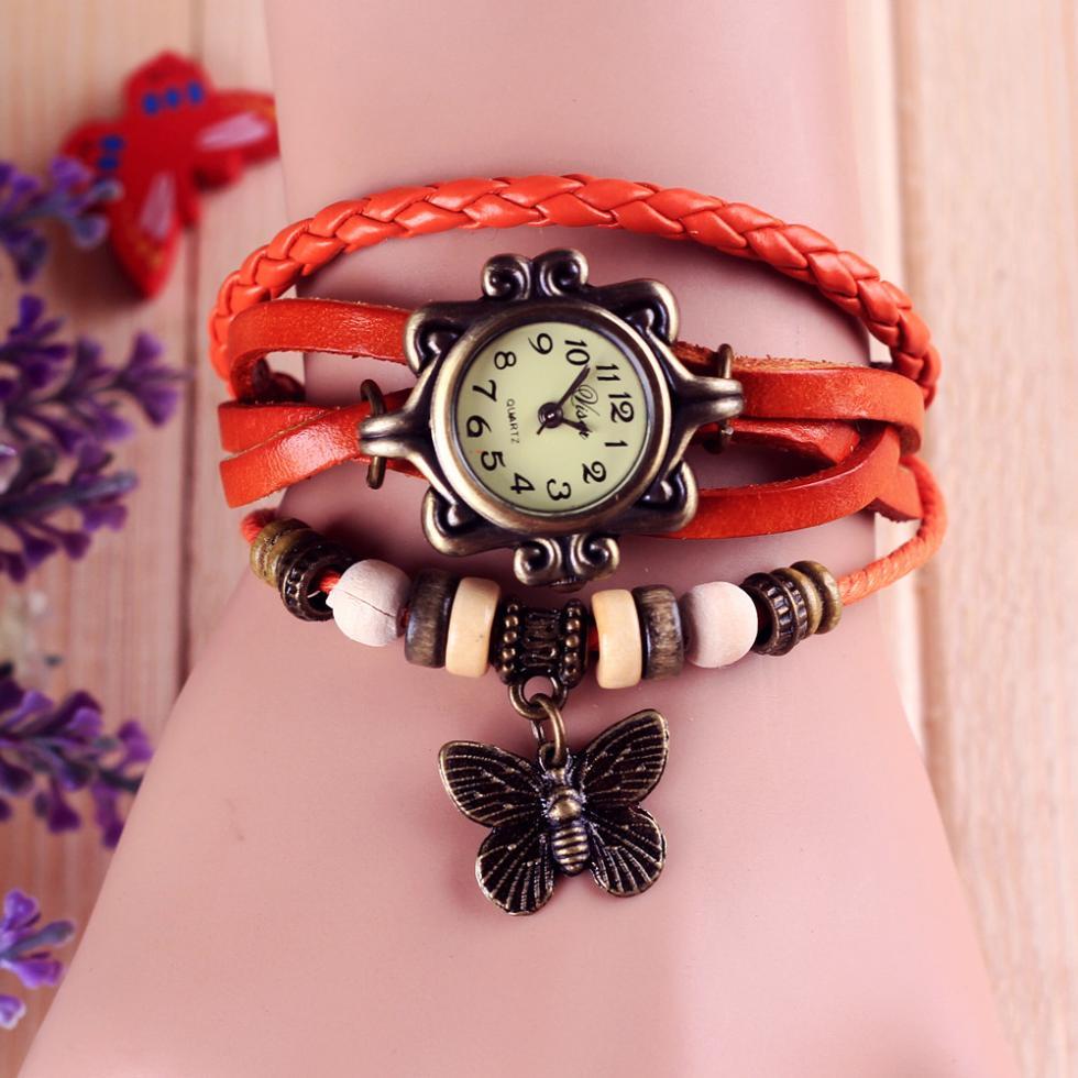 Fashion Leather watch - Bracelet Butterfly Hanging Ornament Wrist Watch 1