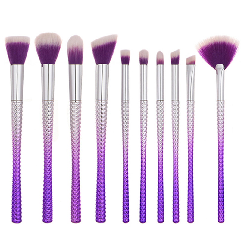 10Pcs Mermaid Face Brush Noble Purple Weave Slim Waist Blush Brush Cleaner Flat Eyebrow Foundation Big Large Fan Brush shiyu syz 779 rechargeable lint remover cleaner w brush deep purple pink 220v