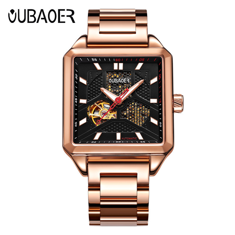 OUBAOER Automatic Watch Men Luxury Rose Golden Skeleton Mechanical Top Brand Mens Watches Fashion Bussiness Clock Relojes Hombre mens mechanical watches top brand luxury watch fashion design black golden watches leather strap skeleton watch with gift box