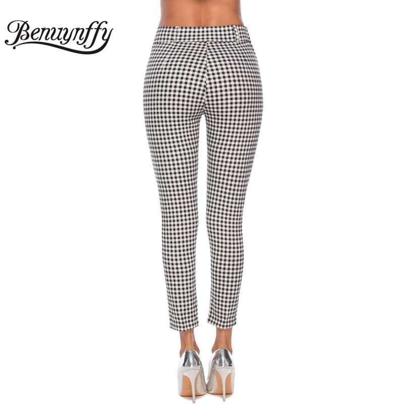 Image 3 - Benuynffy Vintage Button High Waist Plaid Pants Summer Office Lady Workwear Trousers Women Elegant Side Zipper Pencil Pants-in Pants & Capris from Women's Clothing