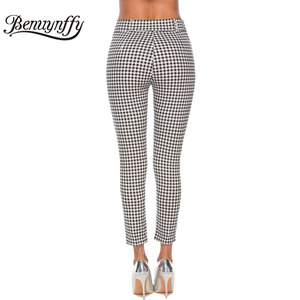 Image 3 - Benuynffy Vintage Button High Waist Plaid Pants Summer Office Lady Workwear Trousers Women Elegant Side Zipper Pencil Pants