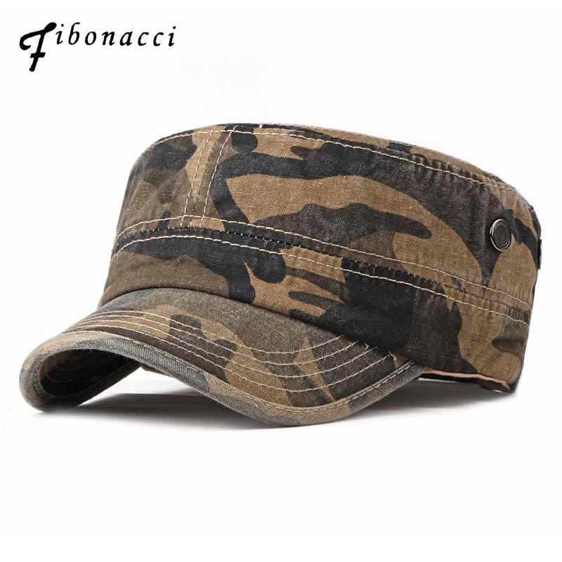 Fibonacci 2018 New Classic Camouflage Men Military Caps Army Cadet Hats Cotton Adjustable Flat Top Patrol Cap