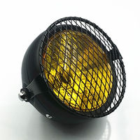 Amber Diamond Motorcycle Headlight Cruiser Vintage Custom VTX CB VT VN XL Cafe
