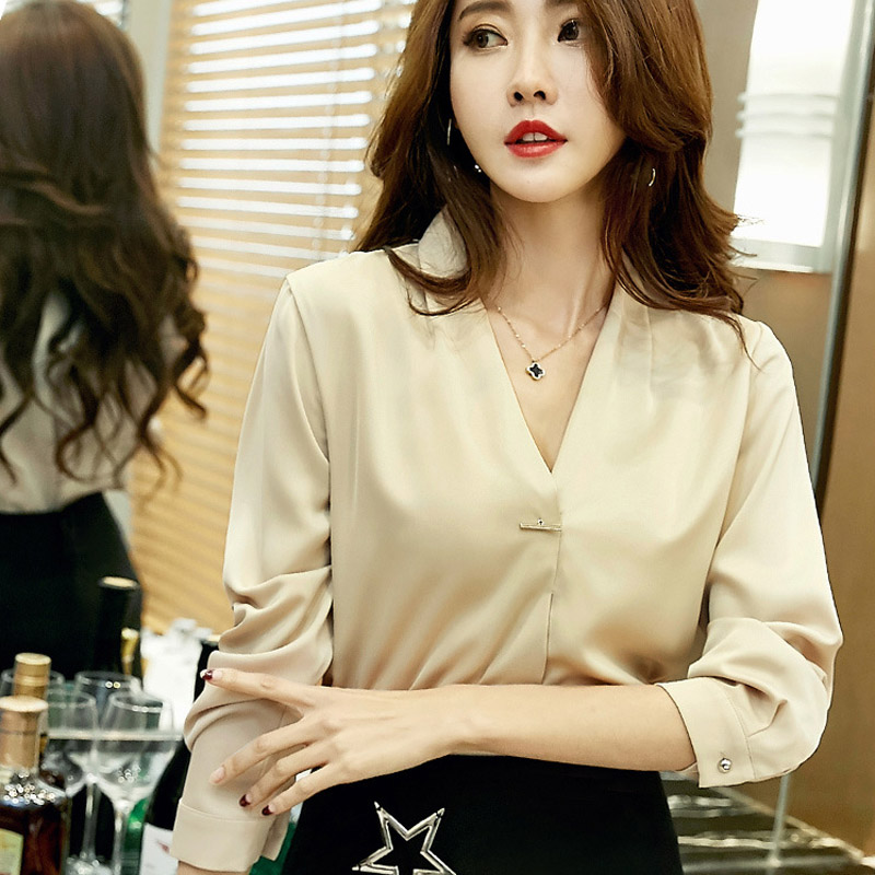 Pin Decor Lady Brown Chiffon Blouses Size S-XL Women Elegant Long Sleeve Clothing Girls V-Neck Casual Career Shirts For Spring