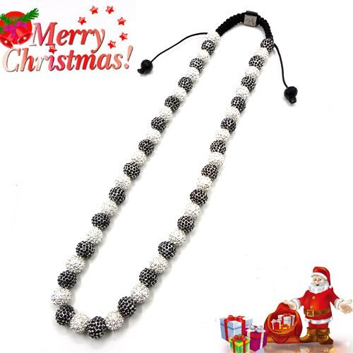 wholesale cz crystal hip hop ball charms beads shamballa necklace X 2 color U pick 204 Free shipping