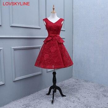 레이스 신부 들러리 드레스 짧은 새 빨간 자수 웨딩 파티 공식 주니어 여성 숙녀 복장