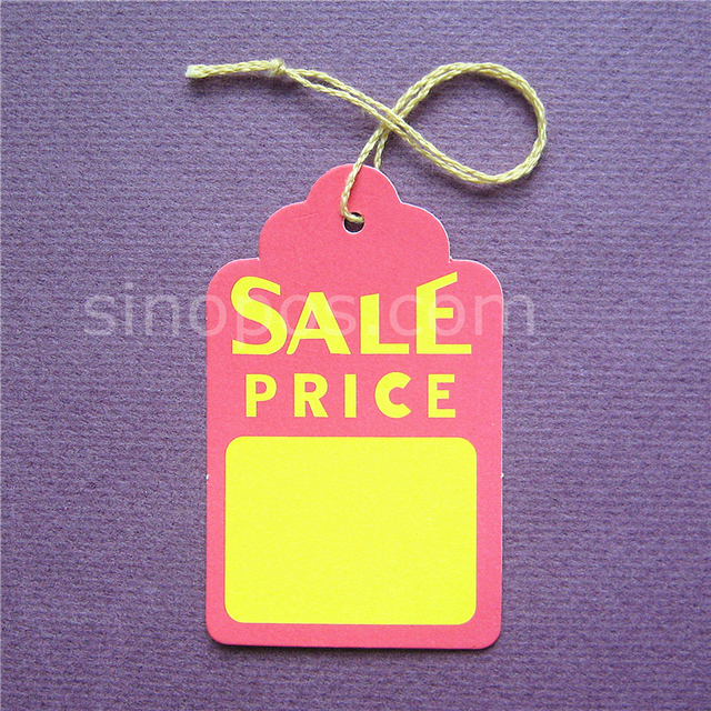 Large Prestrung Price Tags Scalloped 45x73mm Gift Hang Tag Printed Colofull Paper Merchandise