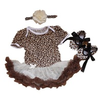 3 Piece Newborn Baby Girls Outfits Leopard Bodysuit Tutu Crib Shoes Headband Summer Baby Girl Clothes