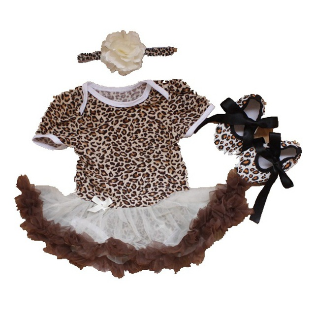 f347b5d5d 3 Piece Newborn Baby Girls Outfits Leopard Bodysuit Tutu Crib Shoes  Headband Summer Baby Girl Clothes Toddler Girl Clothing Set