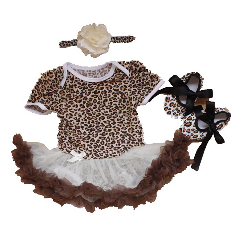 3 Piece Newborn Baby Girls Outfits Leopard Bodysuit Tutu Crib Shoes Headband Summer Baby Girl Clothes Toddler Girl Clothing Set