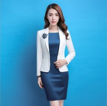 Womens Office Wear Dress Suit for Women Plus Size Work White Blazer and Blue Dress Women Business Casual Outfits Wedding Party