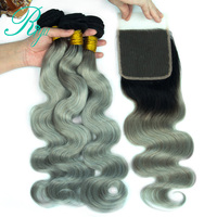 Riya Hair 1B/Grey Body Wave Hair 3/4 PC Extension Sliver Gray With 4*4 Lace Closure Brazilian Natural Human Hair
