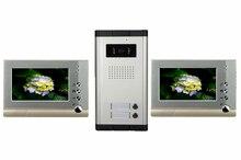 Alta definición por cable Video de la puerta sistema de intercomunicación del teléfono para multiplicar capa apartamento una cámara de 2 monitores