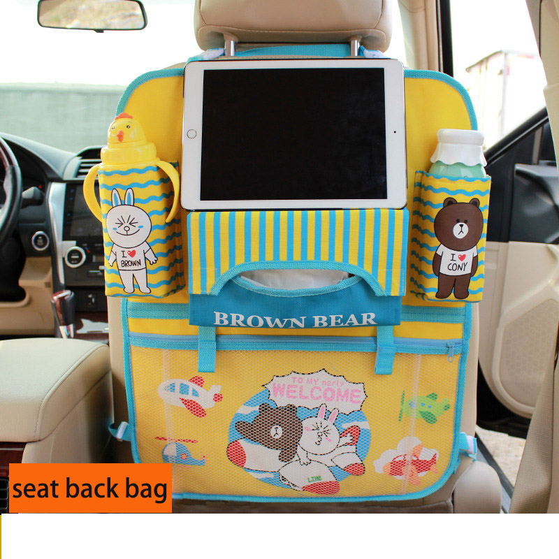 Car Stowing Tidying Seat Back Bag Oxford Cloth The Cartoon Cute Car Receives The bag Seat of the car Seat Children nets ...