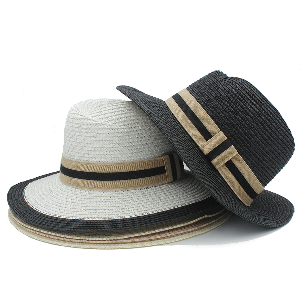 34123cdeacc Fashion Vintage Style Men pananma hat with wide striped band summer sun  straw hat cap bowknot hat for women