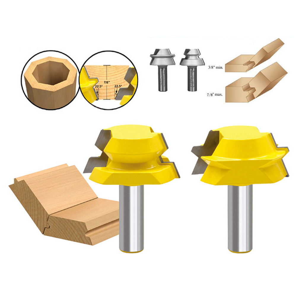 1/2 Shank 2pcs Lock Miter Router Glue Joinery Router Bit Set Tenon  hard alloy For wood accessories, wood milling cutter 414g high grade carbide alloy 1 2 shank 2 1 4 dia bottom cleaning router bit woodworking milling cutter for mdf wood 55mm mayitr