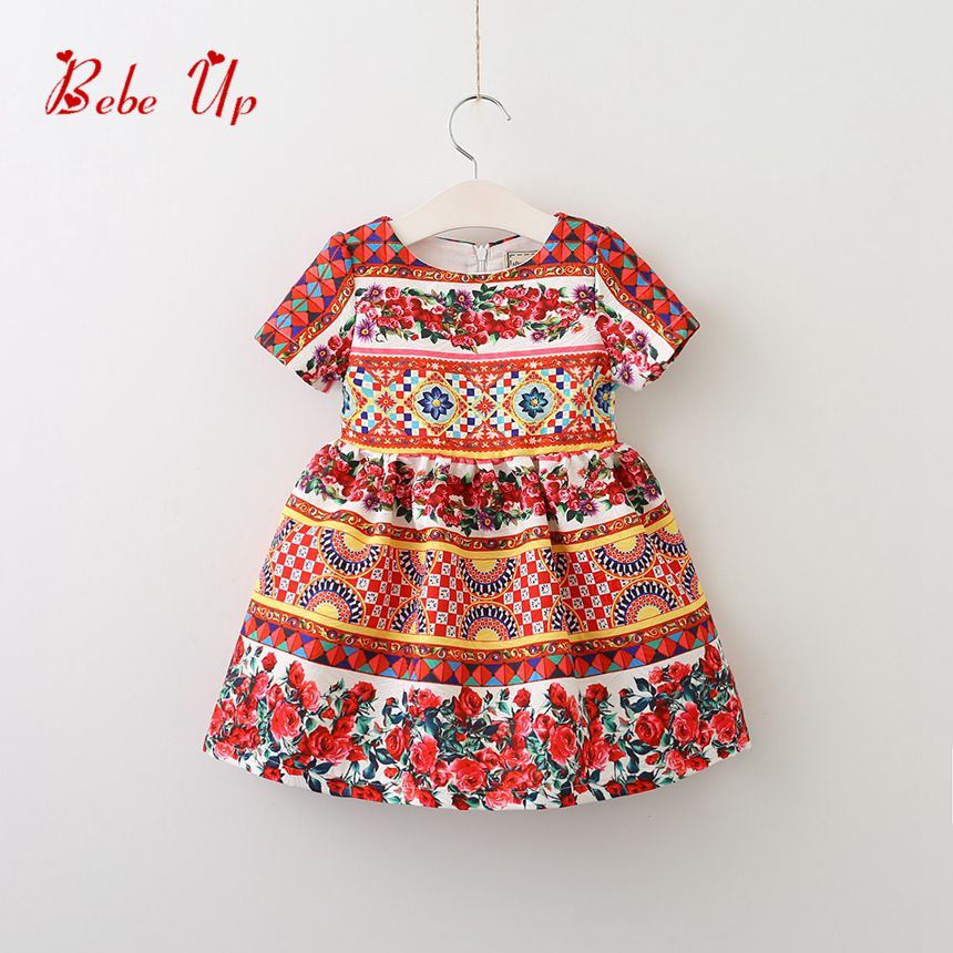 Girl Party Dress Summer Floral Girls Dresses Designer Children Clothing Vintage Flower Print Todder Kids Dresses Fashion A-Line