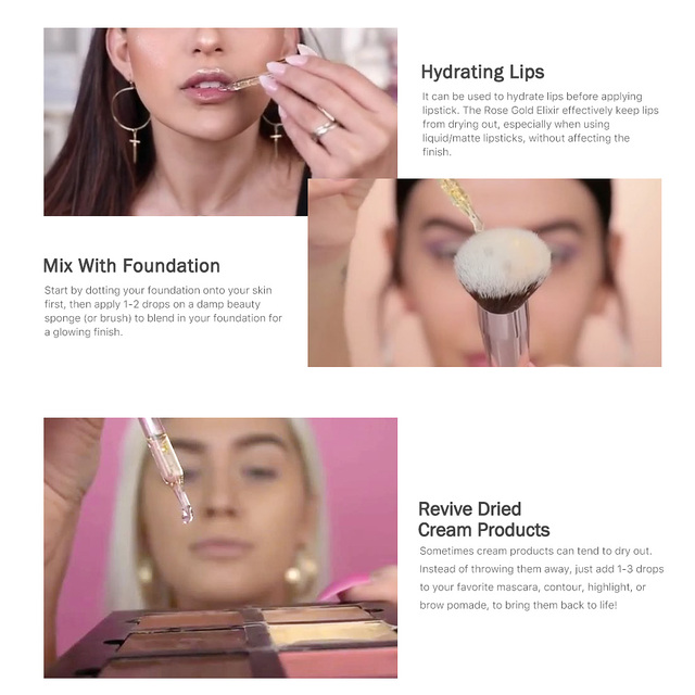 O.TWO.O 24k Rose Gold Elixir Skin Make Up Oil For Face Essential Oil Before Primer Foundation Moisturizing Face Oil Anti-aging 5