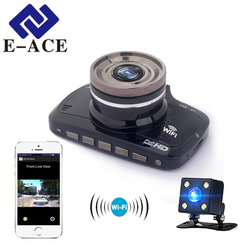 E-ACE Wifi Mini Camera Car Dvr Mirror Dash Cam Full HD 1080P Automotive Video Recorder Auto Car Camcorder Dual Lens Camera DVRs