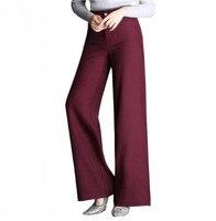 Düz Gevşek Rahat Pantolon Toptan Anne Yüksek Bel Geniş bacak Pantolon Kadınlar Yeni 2018 Artı Boyutu OL Resmi Ofis Pantolon