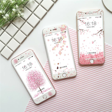 Ottwn Cute Cartoon Flower Tempered Glass For iPhone 6 6S 7 8 Plus X XS Max XR Full Cover Chic Soft Protection Film Screen