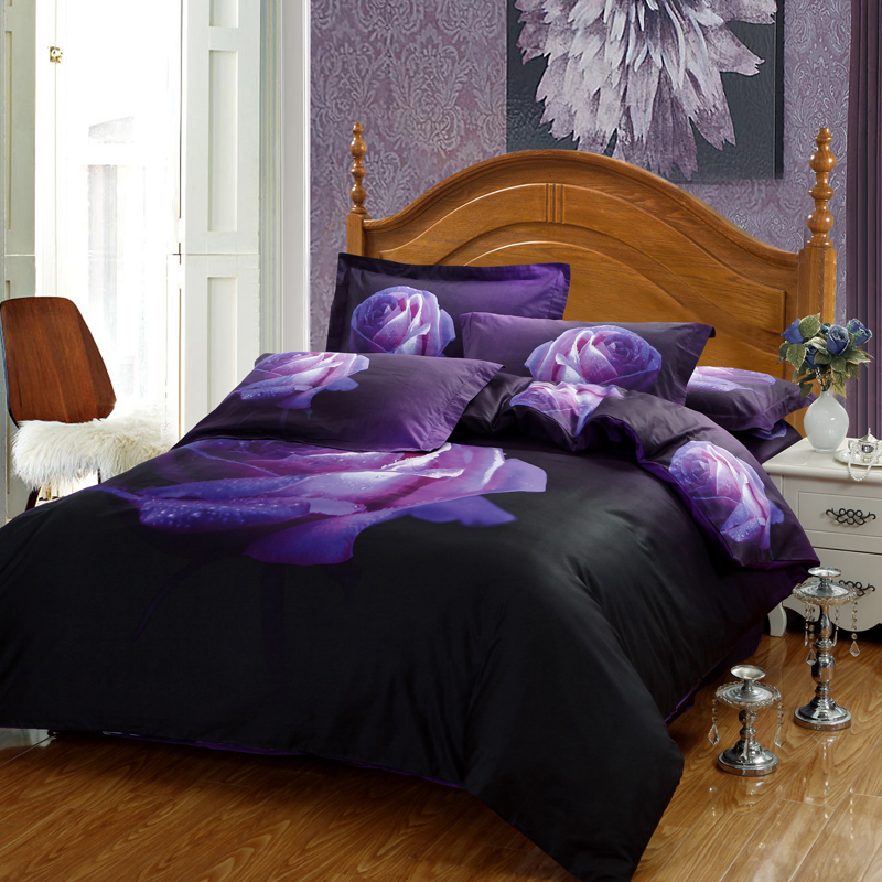 Purple Grey Roses Size King 100/% Cotton Percale Quality Printed Duvet Cover sets