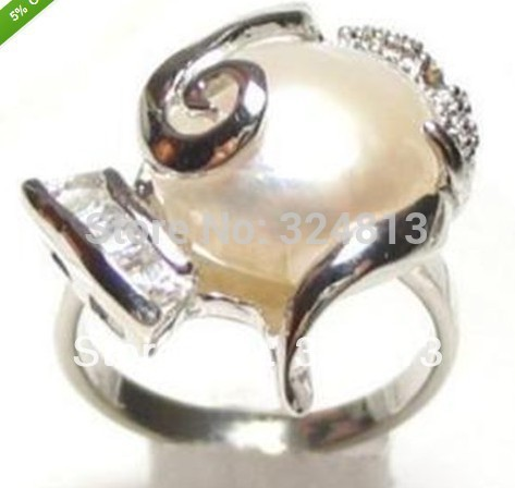 Selling jewerly Genuine White Mabe Pearl rings Size:7 -9