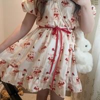 Women Loose Cotton Japanese 2016 Summer Dress Kawaii Casual Cute Cartoon Print Short Sleeve Princess Party