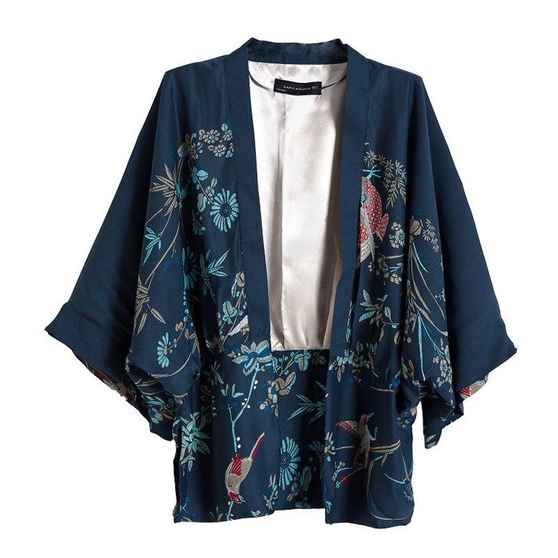 2018 Summer New Casual Ethnic Cardigan Kimono Women Shirts Vintage Loose Phoenix Prints Holiday Women Blouses blusa feminina