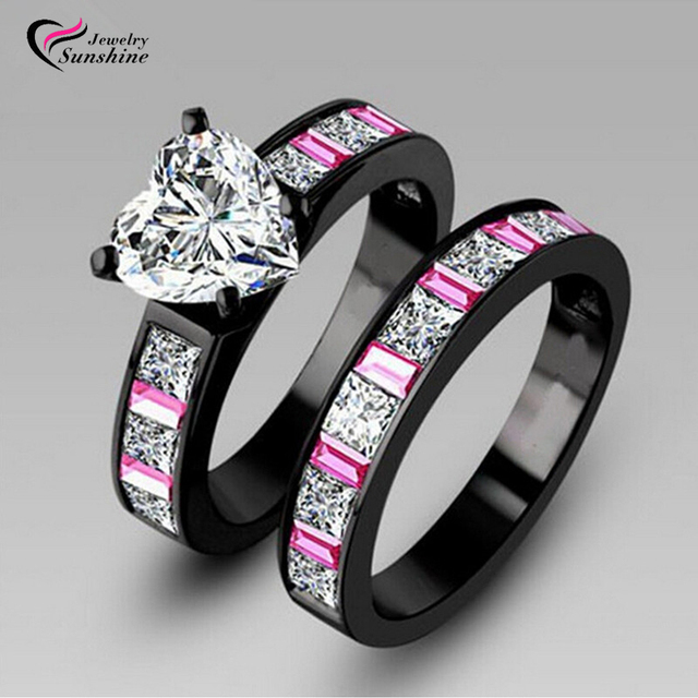 Engagement Couple Black Rings with Pink Sapphire 10KT Black Gold ...