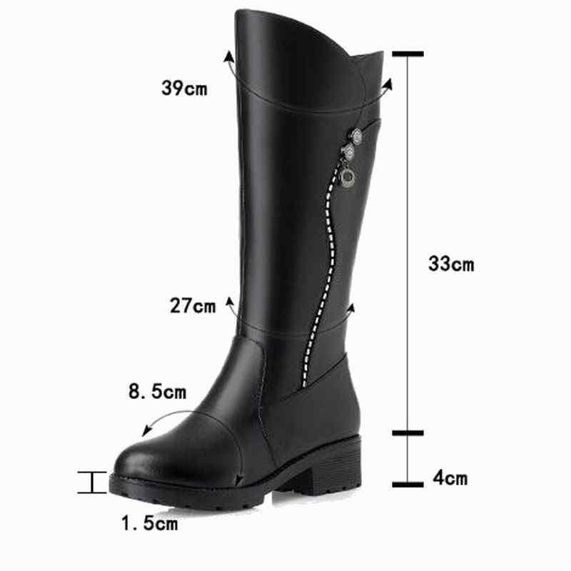 Gktinoo Chất Lượng Cao Đầu Gối Cao Giày Bốt Nữ Da Thật Chính Hãng Da Mùa Đông Giày Thoải Mái Len Nam Nữ Dài Giày Boots