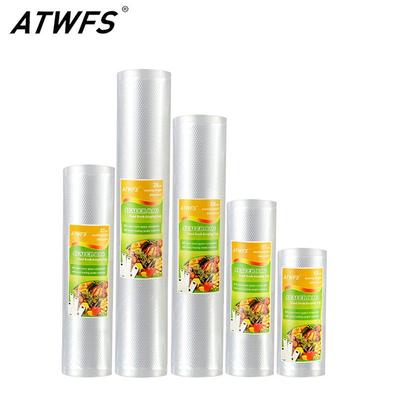 ATWFS Vacuum Sealer Bags for Food Saver Sealing Machine Plastic Storage Vacuum Bag Kitchen Packer Vacum Bag 3-5 Packaging Rolls(China)