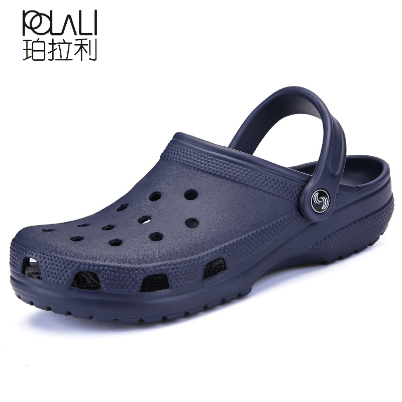 POLALI 2018 Men Sandals Summer Slippers Shoes Croc Fashion Beach Sandals Casual Flat Slip On Flip Flops Men Hollow Shoes ST263(China)
