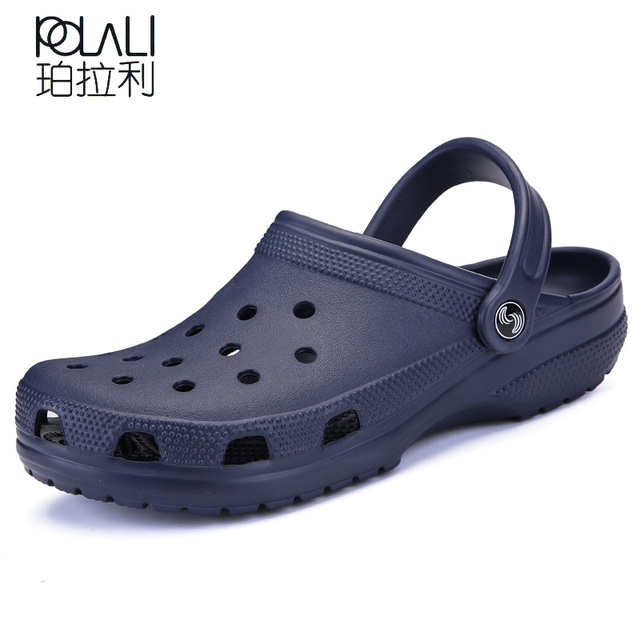 POLALI 2018 Men Sandals Summer Slippers Shoes Croc fashion beach Sandals Casual Flat Slip On Flip Flops Men Hollow Shoes ST263