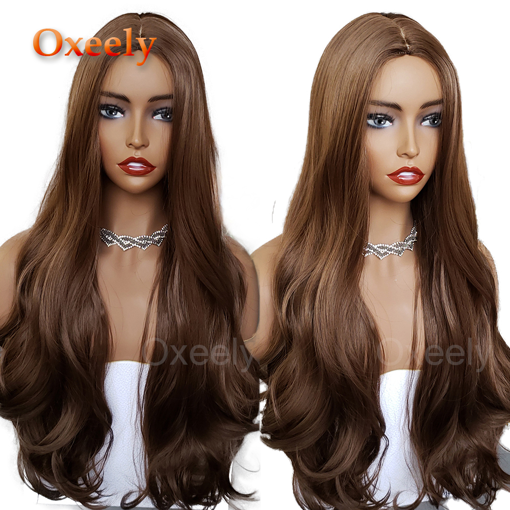 Oxeely Long Wavy Synthetic Hair Wigs Brown Hair Deep Middle Part Wigs For Women Silk Top Wig Heat Resistant Fiber Hair