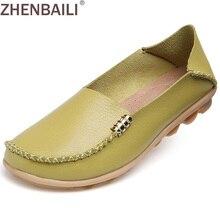 Hight Qualität Echtes Leder Frauen Freizeitschuhe 2017 Mode Bonbonfarben Komfortable Slip-on Peas Massage Flache Schuhe Plus größe