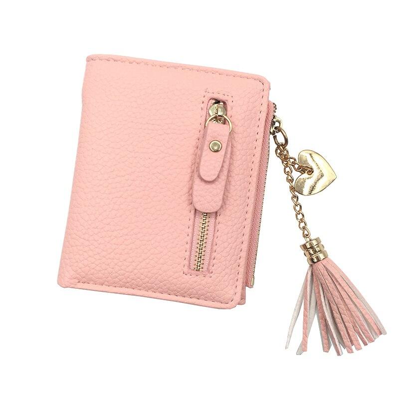 small tassel women wallet 2017 luxury brand short design leather double zipp two fold female purse with heart chain card holder