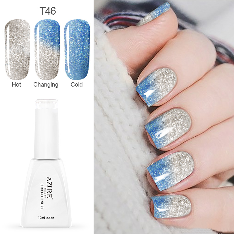 Azure 12ML New Changing Gel Nail Polish Long-Lasting Soak-Off Led UV Gel Lacquer Chameleon Nail Gel Manicure Varnish  Gel Polish