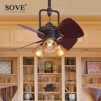 SOVE 24 Inch Retro Village Wood Mini Ceiling Fans With Lights Decorate Bedroom Home 220 Volt Ceiling Light Fan Lamp