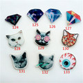 Acrylic HARAJUKU Badge Alien Funny Cat  Brooches Pin Up Collar Tips Cartoon Enamel Christmas Gifts Ab45