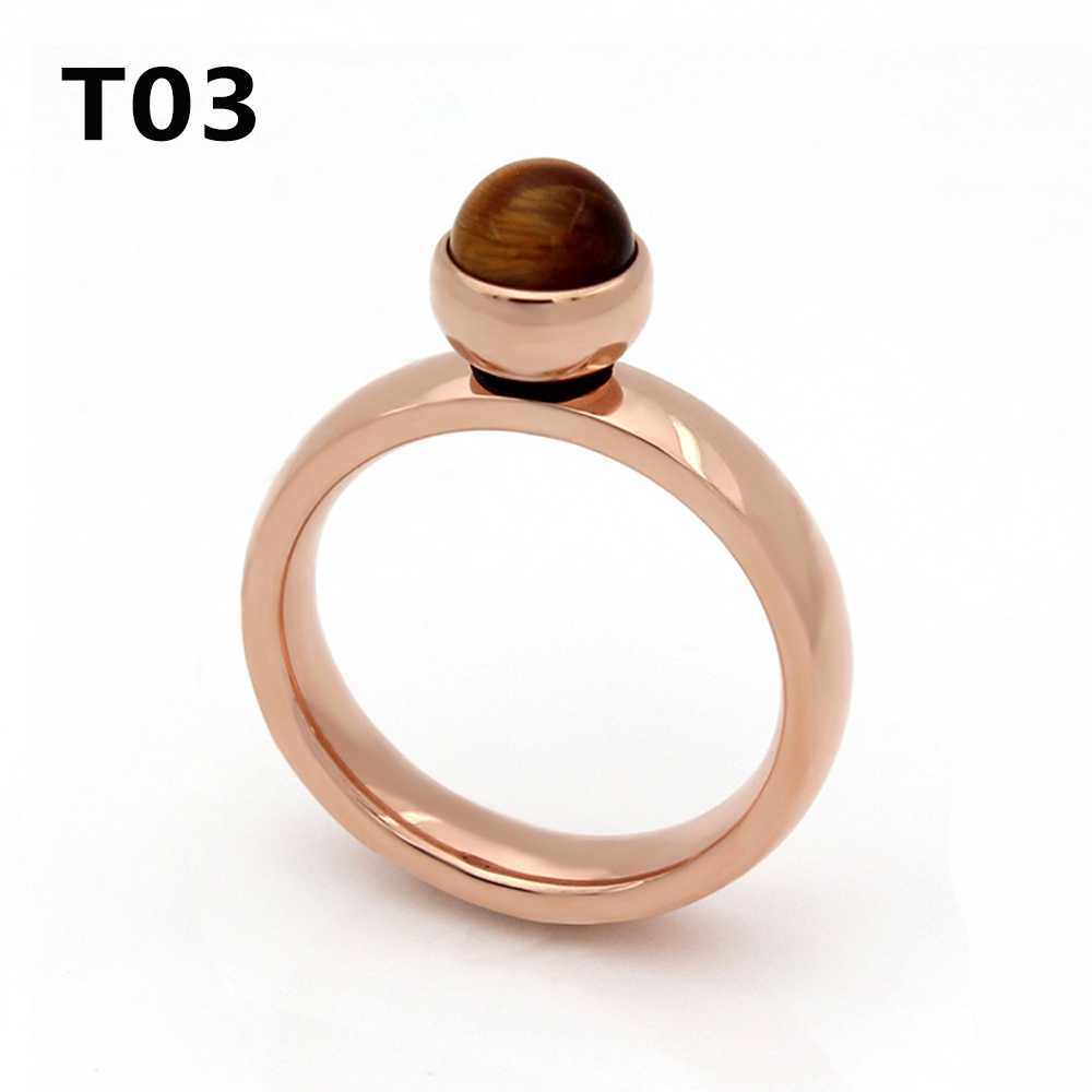 2017 High Quality Beautiful Stainless Steel Plated Rose Gold Big Crystal Ring For Wedding Promotion Cant Move T03
