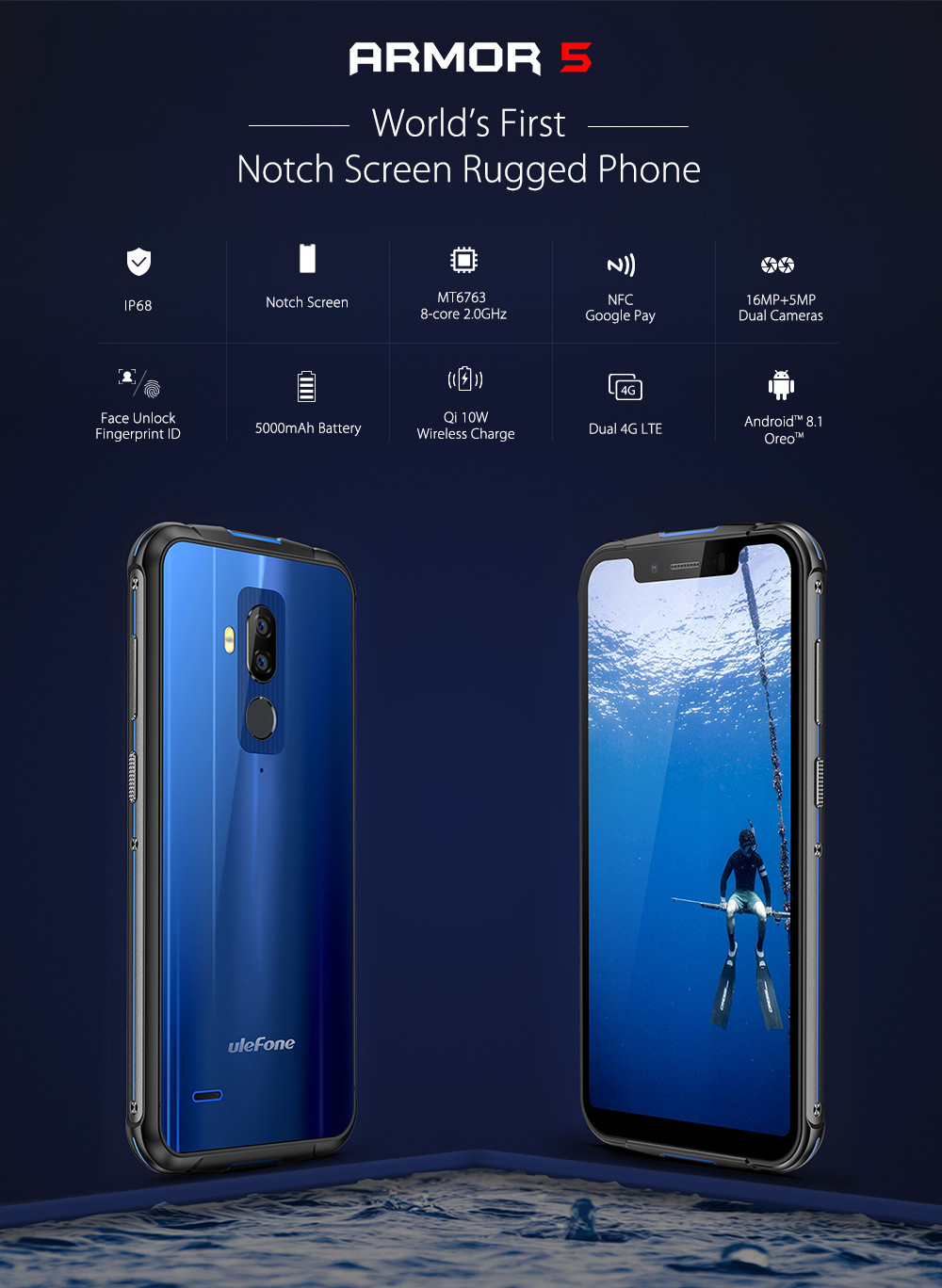 Ulefone Armor 5 Waterproof IP68 NFC 5.85 HD Mobile Phone MT6763 Otca-core Android 8.1 4GB+64GB Wireless charger Face ID 5000mAh