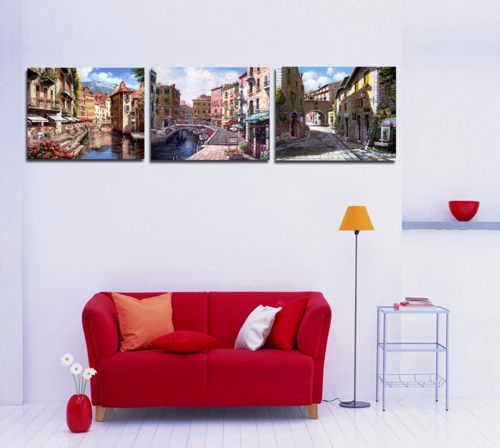wall street office decor. Water City Venice Europe Town Landscape Painting Canvas Printed 3 Panel Picture For Living Room Office Cafe Hotel Wall Decor-in \u0026 Calligraphy From Street Decor E
